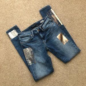 Mavi Adriana Mid Rise Super Skinny Metallic Jeans